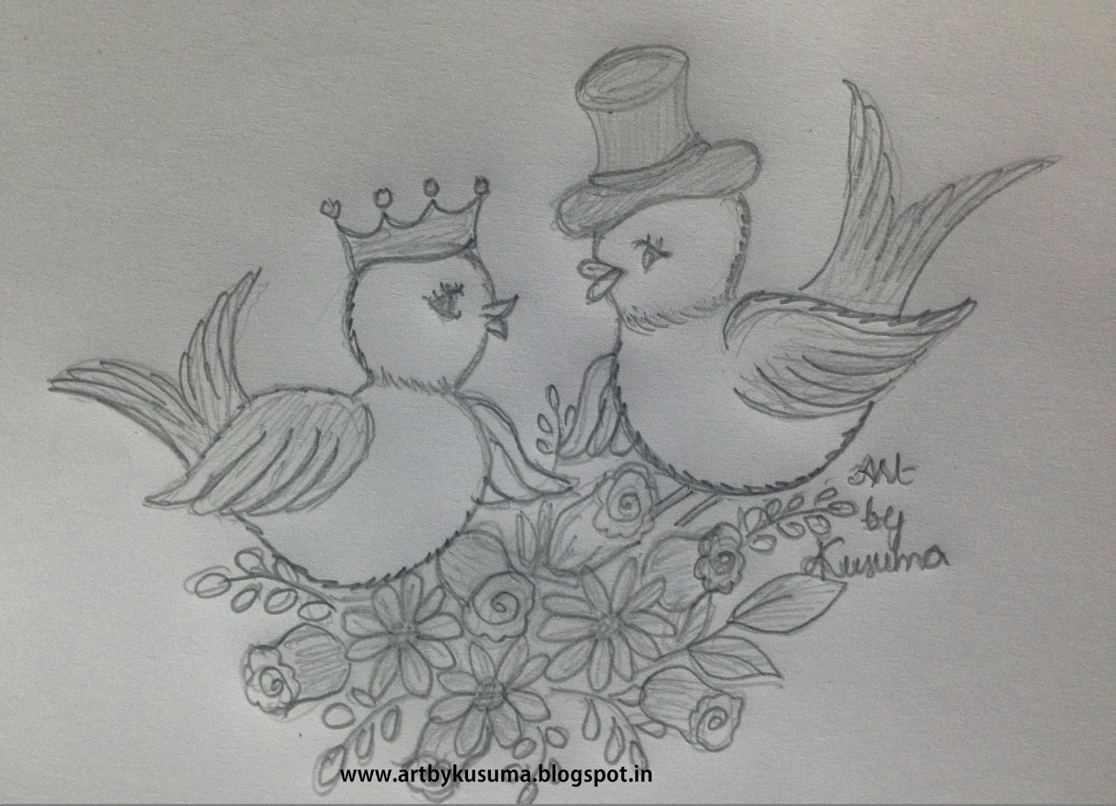 Pencil Sketches Of Love Birds Drawing Tutorial Easy