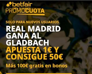promocuota betfair Gladbach  v Real Madrid 27-10-2020