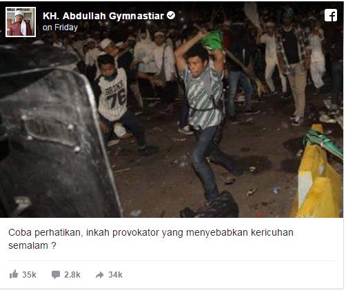 Aa Gym Unggah Foto Terduga Provokator Kericuhan Aksi 4 November, Netizen Kaget Lihat Tampangnya