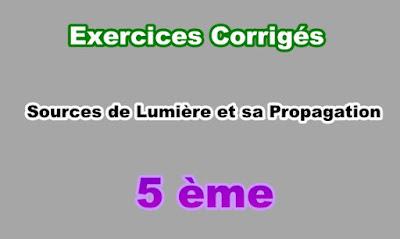 Exercices Corrigés Sources de Lumière et sa Propagation 5eme PDF