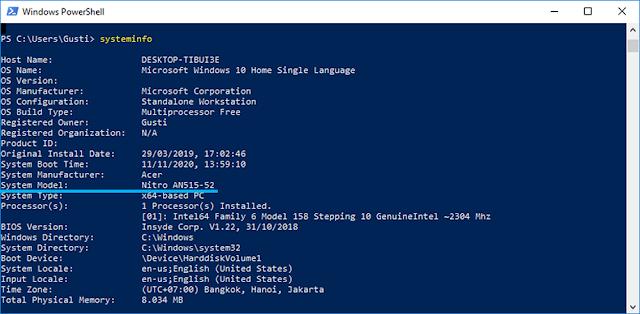 Perintah Systeminfo di Windows PowerShell