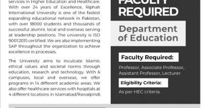 Jobs In Riphah International University 2019 | Latest Jobs