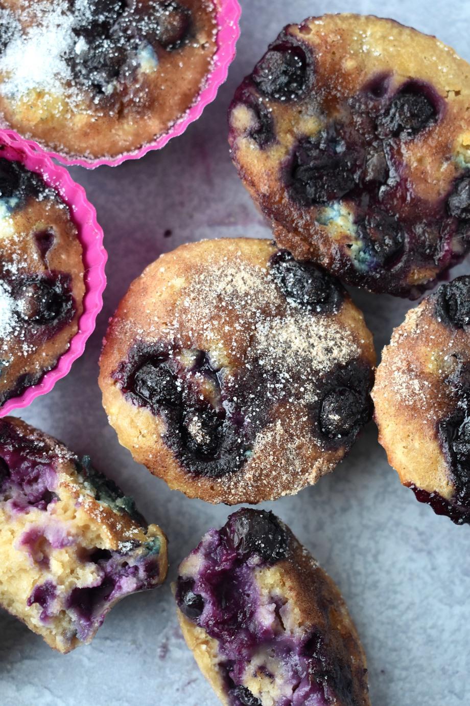 close up of Greek yogurt blueberry muffins