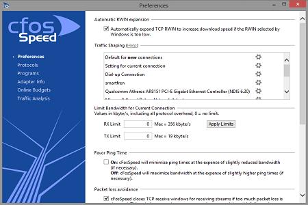 cFosSpeed (32 bit) screenshot