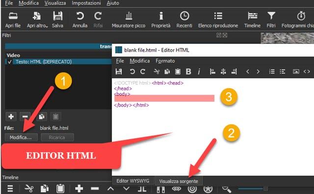 editor html di shotcut