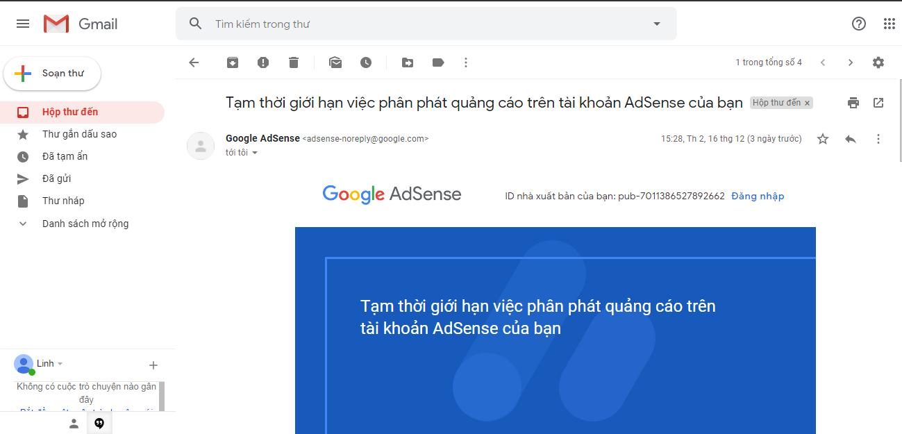 Tạm thời giới hạn việc phân phát quảng cáo trên tài khoản AdSense của bạn