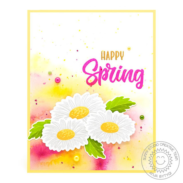 Sunny Studio Stamps: Cheerful Daisies Spring Themed Card by Anja Bytyqi