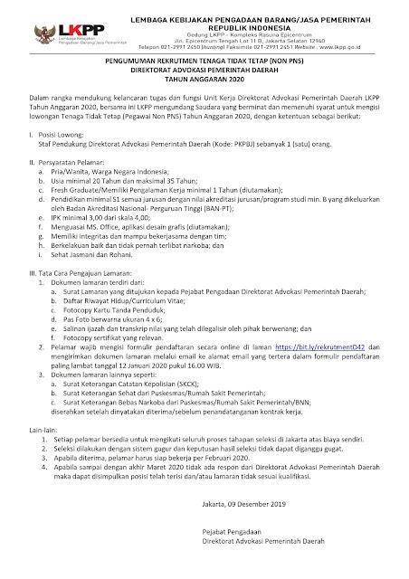 Rekrutmen Tenaga Tidak Tetap (Non PNS) Direktorat Advokasi Pemeritah Daerah LKPP Tahun Anggaran 2020