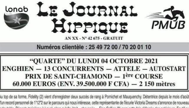 programme quinté Pronostic Lundi 04/10/2021