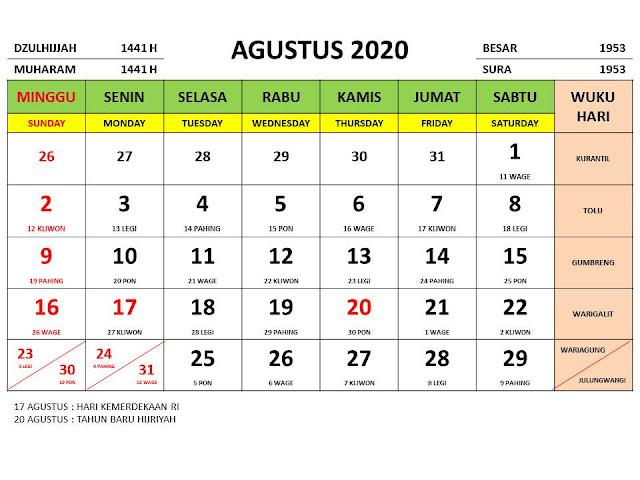 Kalender 2020 Jawa Bulan Agustus