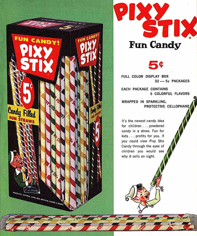 Pixy Stix candy 1963, a color advertisement