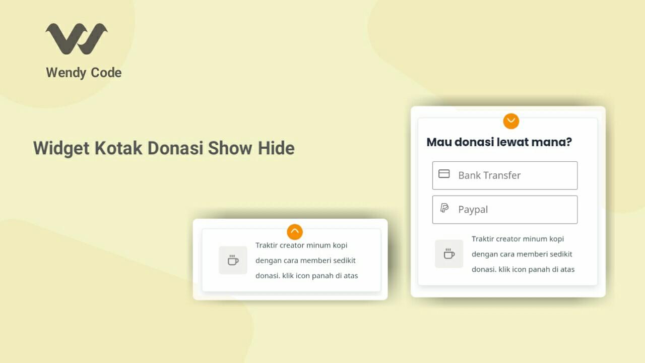 widget kotak donasi show hide