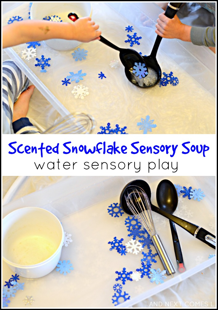 scented snowflake soup water sensory play and next comes l. Black Bedroom Furniture Sets. Home Design Ideas