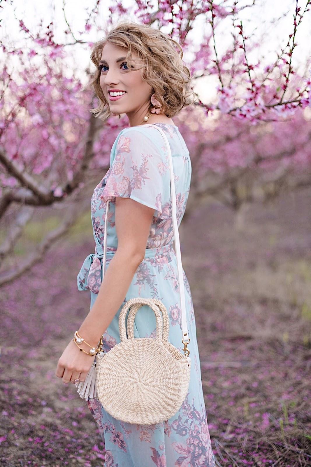 Spring Style: Floral Wrap Dress & Clare V. Petite Alice Bag - Something Delightful Blog