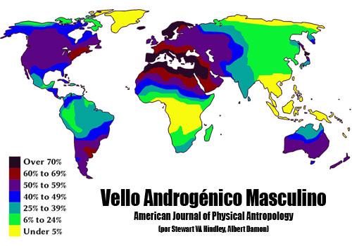 Mapa del vello androgénico masculino en el mundo.