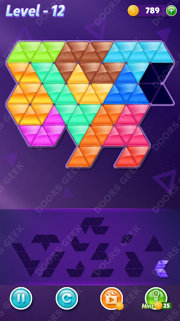 Block! Triangle Puzzle 12 Mania Level 12 Solution, Cheats, Walkthrough for Android, iPhone, iPad and iPod