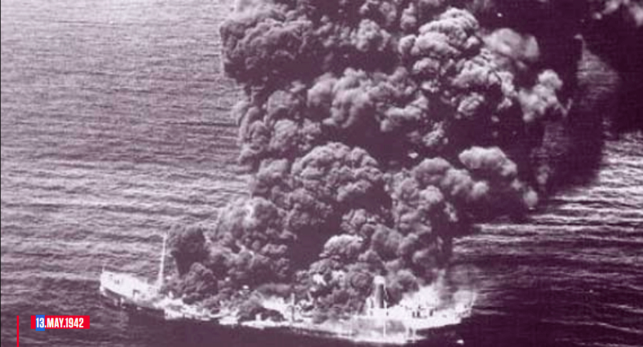 """On this day in the history; El Potrero del Llano was the first Mexican oil tanker, torpedoed and disabled (not entirely sunk), by the German submarine U-564 type VII C commanded by the lieutenant Reinhard """"Teddy"""" Suhren at 23:55 hours on May 13 From 1942, this fact led Mexico to abandon its neutrality and enter World War II."""