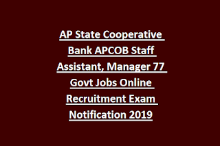 AP State Cooperative Bank APCOB Staff Assistant, Manager 77 Govt Jobs Online Recruitment Exam Notification 2019