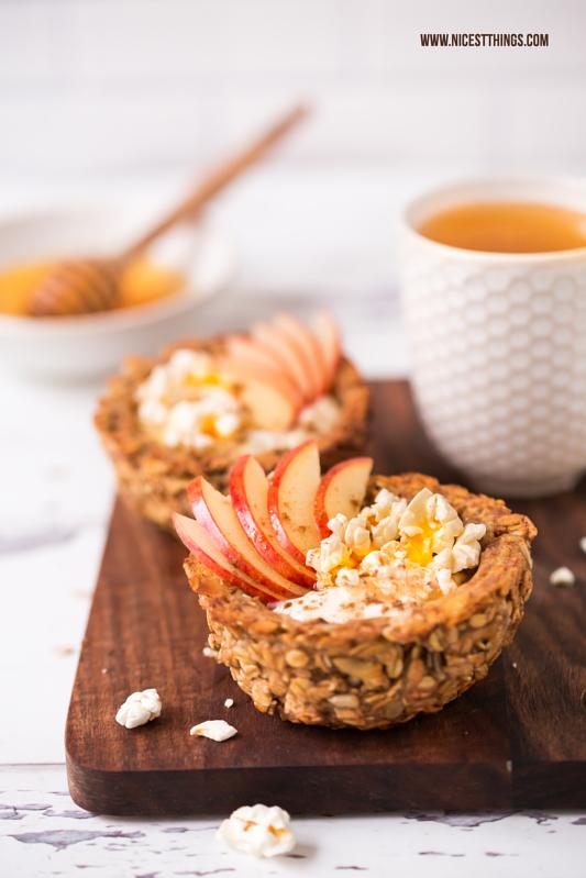 Granola Cups Frühstücks Rezept mit Honig, Haferflocken, Apfel und Zimt