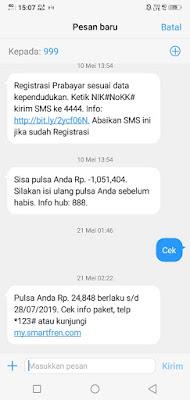 Cek pulsa smartfren via sms