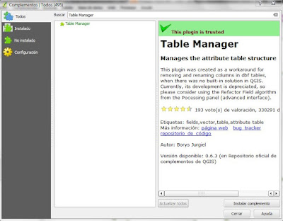 Table Manager en QGIS complemento
