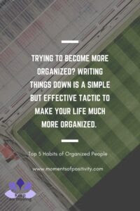 Top 5 Habits of Organized People