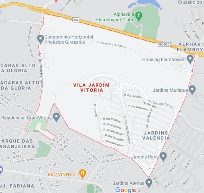 Mapa incompleto do Jardim Vitória