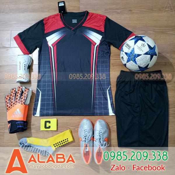 Áo bóng đá không logo màu đen