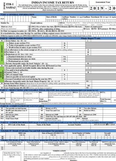10 changes in ITR 1 filing in 2019