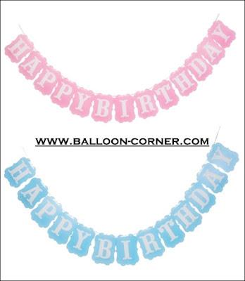 Bunting Banner HAPPY BIRTHDAY Warna Pink & Biru