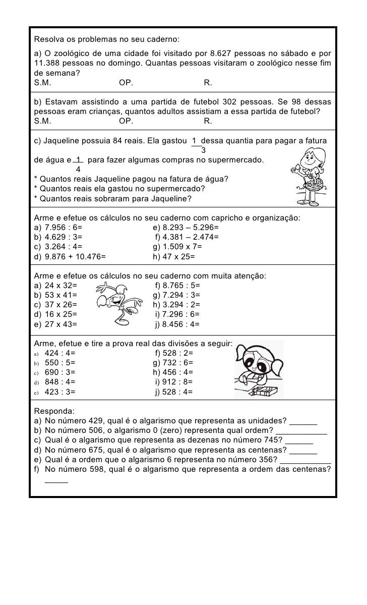Exercicios De Fixacao Matematica Para 4 Ano Atividades De Matematica