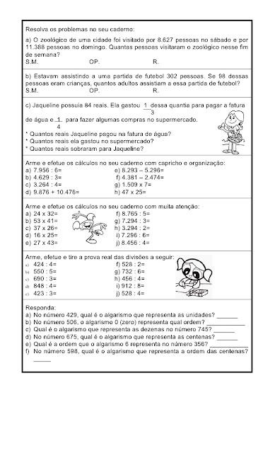 atividades de matematica 4 ano multiplicação e divisão