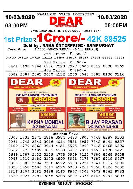 Lottery Sambad 10.03.2020 Nagaland Lottery Result 8 PM