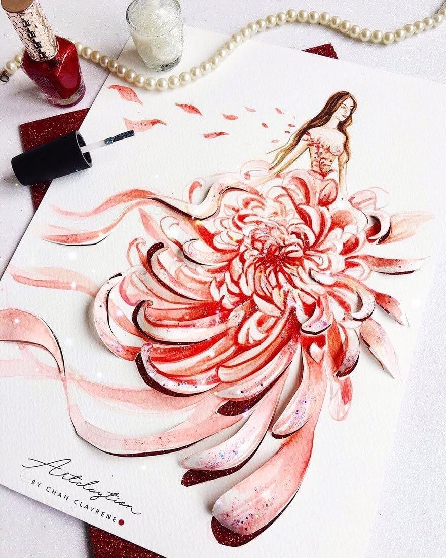 07-Flower-dress-Clayrene-Chan-Drawings-of-Lavish-Flowing-Dress-Designs-www-designstack-co