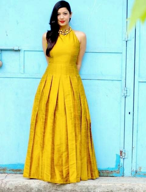 993fecf529 If you want to keep things fuss free, comfortable yet stylish for your  intimate haldi ceremony then opt for an floor length gown. The western style  gown can ...
