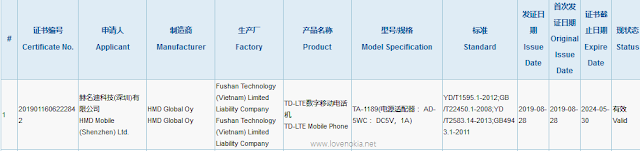 Nokia TA-1189 passes CCC Certification