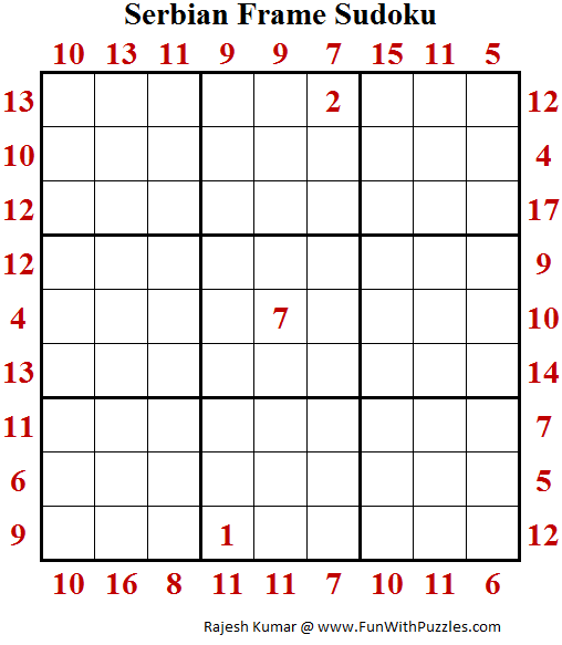 Serbian Frame Sudoku (Puzzles for Teens)