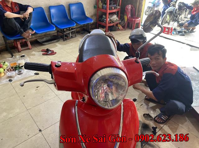 Mẫu sơn xe máy Attila Elizabeth màu đỏ cực đẹp