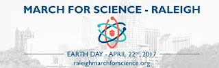 Raleigh March for Science logo with city skyline and atomic model with an acorn in center