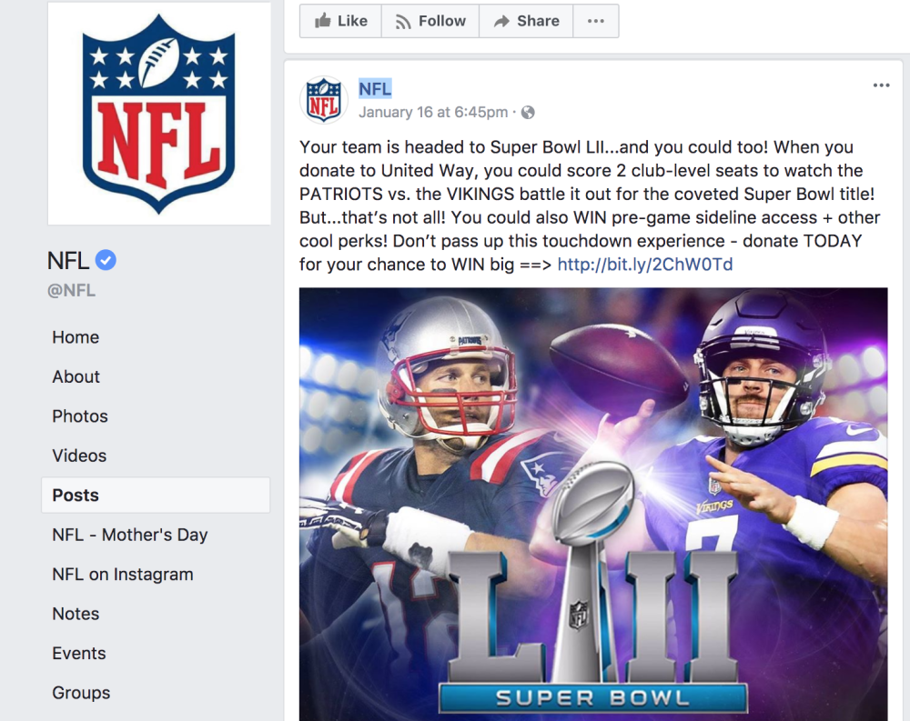 8efc11581 The post clearly promotes the Patriots playing the Vikings in Super Bowl LII.  Now