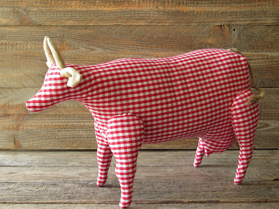 tilda cow made of gingham fabric