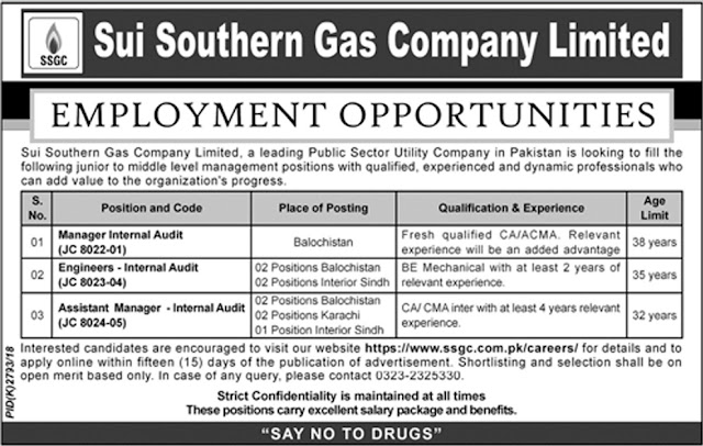 Sui Southern Gas Company Limited Jobs 2019