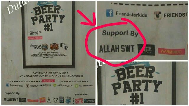 Pamflet Pesta Bir Bersponsor Tulisan Allah SWT gegerkan Banten