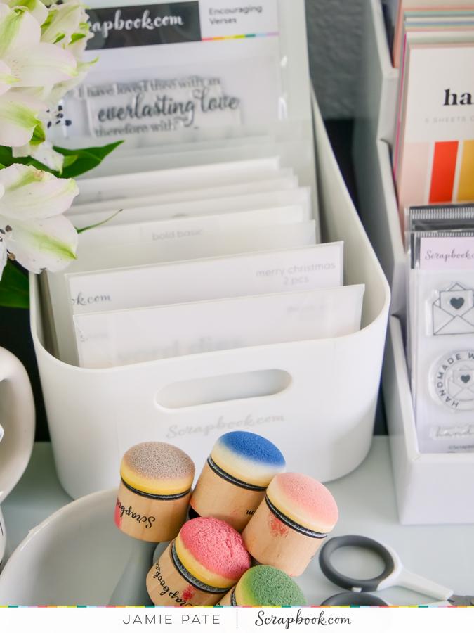 Work Space Wednesday | Five Ways to Organize Scrapbook Supplies by Jamie Pate