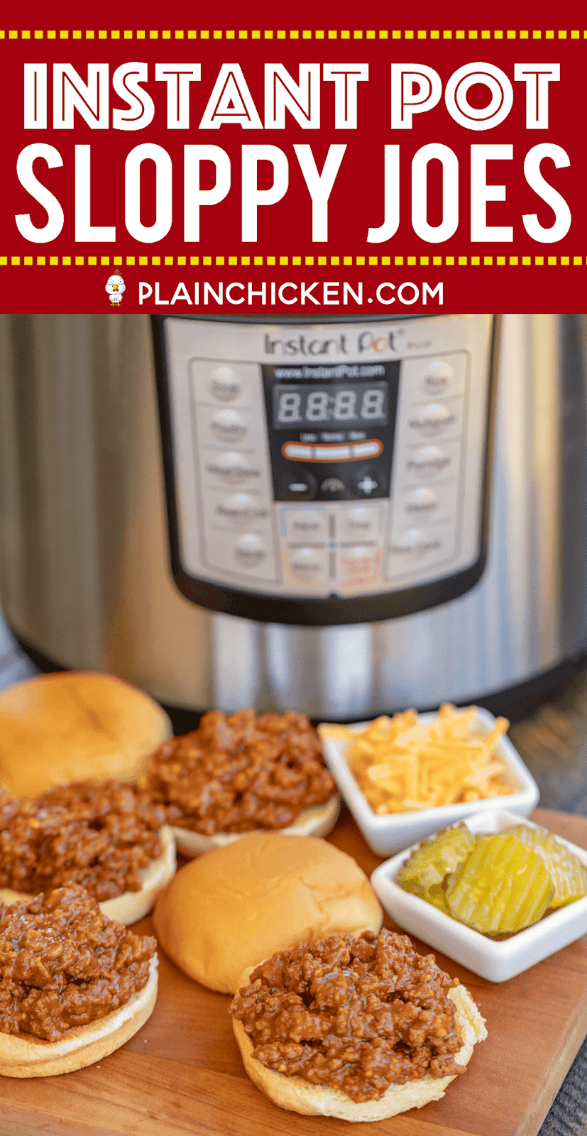 Instant Pot Sloppy Joes - seriously delicious! Hands down THE BEST Sloppy Joes we've ever eaten! Ground beef, garlic, tomato sauce, BBQ sauce, cider vinegar, brown sugar, dijon mustard, Worcestershire sauce, chili powder and onion powder. So simple to make in the electric pressure cooker. Serve on slider buns with pickles, cheese and mustard. Everyone raved about these sandwiches. Even our Sloppy Joe haters cleaned their plate! YUM! #instantpot #sloppyjoe #beef #sandwich
