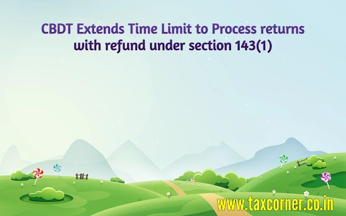 CBDT Extends Time Limit to Process returns with refund under section 143(1)