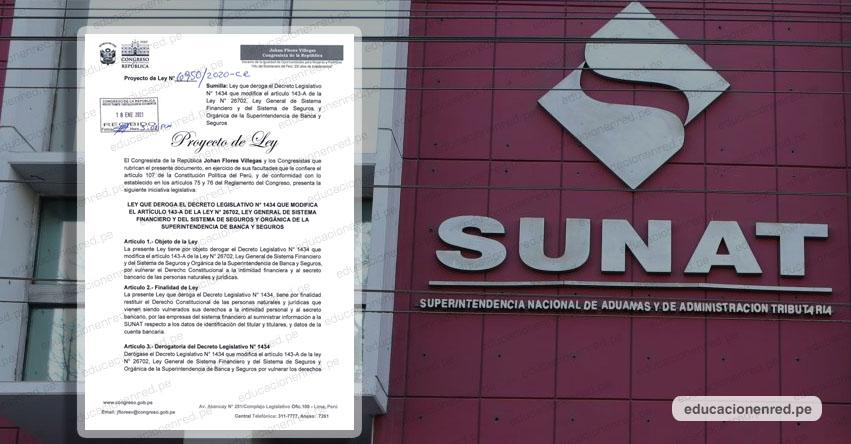CONGRESO DE LA REPÚBLICA: Presentan Proyecto de Ley para Derogar polémica Ley que permite a SUNAT acceder a cuentas bancarias