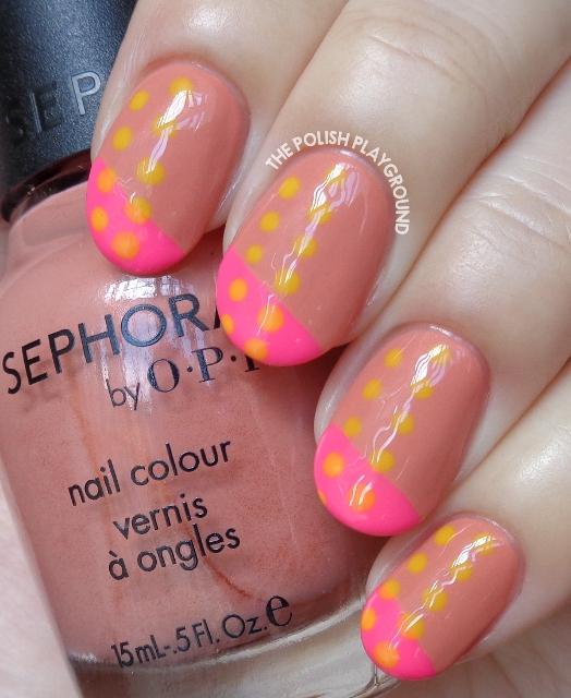 Bright Pink and Yellow Color Block Nail Art