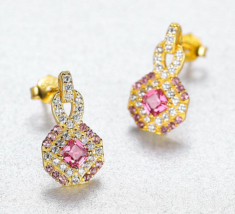 宮廷風金麗人造寶石 925純銀耳環