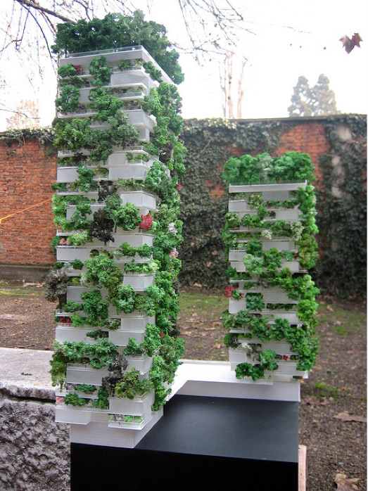models of the Bosco Verticale towers
